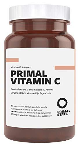 Vitamin C Hochdosiert | 900mg Aktives Vitamin C | Premium Calciumascorbat, Acerola Extrakt und Quercetin | Frei von Zusatzstoffen wie Magnesiumstearat oder Gelatine | Laborgeprüft - 90 Kapseln