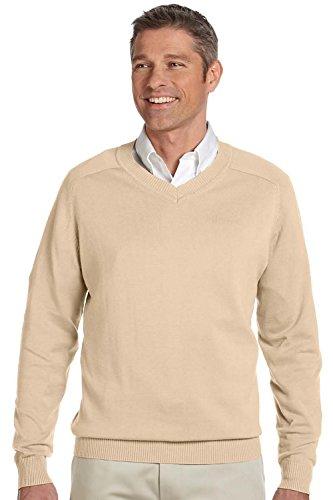 Devon & Jones Herren Pullover mit V-Ausschnitt Baumwolle Long Sleeve Stone 2XL - Devon & Jones-pullover Mit V-ausschnitt