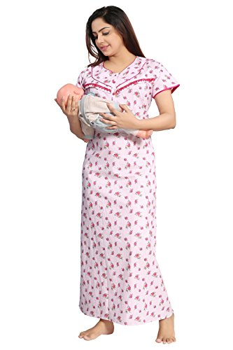 a2d0888598 TUCUTE Women s Beautiful Floral Print Cotton Fabric  Feeding Maternity Nursing Nighty Pregnancy wear