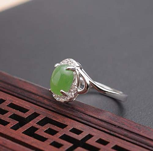 SanQ-Seven Elegante Anillo Jade Verde Platino Plateado