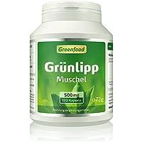 Greenfood Grünlippmuschel, 500 mg, hochdosierter Extrakt, 120 Vegi-Kapseln – Baustoff und Gelenkschmiere. Für Knorpel, Gelenke und Bandscheiben. OHNE künstliche Zusätze. Ohne Gentechnik.