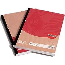 Rhino - Libreta de recambio (A4, 160 hojas, 320 páginas, 8 mm a rayas, con márgenes)