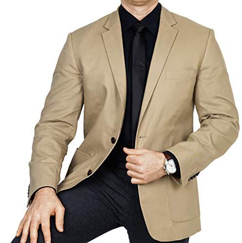 bonprix Herren Sakko untersetzt Comfort Fit Leinen-Mix Übergröße Blazer Zweiknopf Jackett Anzug Langgröße bequem Spezialgröße, Größe 29, beige