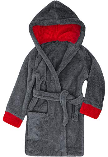 Timone Kinder Bademantel Kids(Graphite/Rot (719/615), 146-152) 146 Fashion