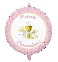 Idea Regalo - Palloncino Mylar Prima Comunione Rosa Ø 45 cm Big Party