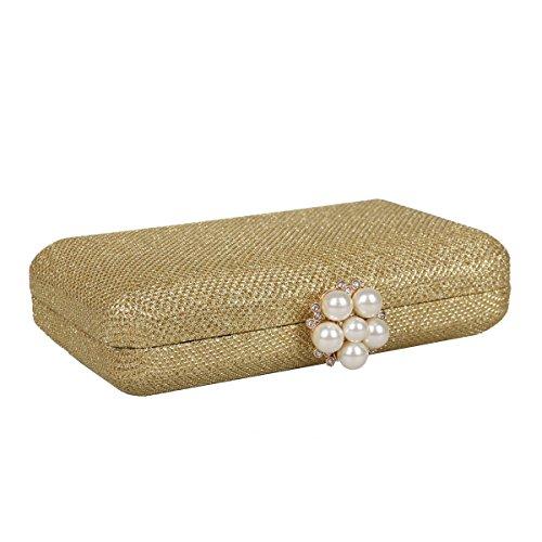Damara® Damen Glitzer Pailletten Schnappverschluss Mit Perlen Clutch Gold