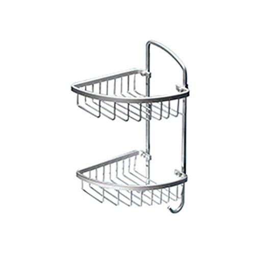 JXXDQ Badezimmer-Regal-Raum-Aluminium Eckdreieck-Netz-Korb-2 Reihen-Silber organisieren Speicher-Wand-Berg-Gestell, 215 * 215 * 410mm (Silber-netz-speicher-korb)