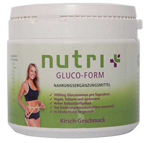 Appetitzügler - Appetithemmer - Glucomannan-Drink - sensationeller Geschmack - 90 Portionen - Kirsche - Nutri-Plus Gluco Form - Glutenfrei - Laktosefrei - zum Abnehmen