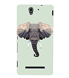 Fuson Premium Back Case Cover Designed Elephant Head With Brown Background Degined For Sony Xperia C3 Dual D2502::Sony Xperia C3 D2533