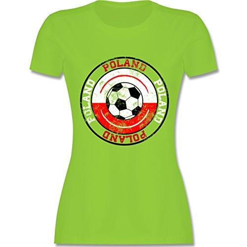 EM 2016 - Frankreich - Poland Kreis & Fußball Vintage - tailliertes Premium T-Shirt mit Rundhalsausschnitt für Damen Hellgrün
