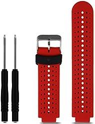 Para Garmin Forerunner 230/235/630,Xinan Muñequera de Silicona Suave de Reemplazo (Rojo)