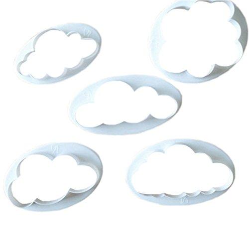 Lalang 5PCS Kunststoff Wolken Form DIY Cookies Fondant Puzzle Form Ausstechformen Deko Kuchen verziert Fondant Schneider Werkzeug