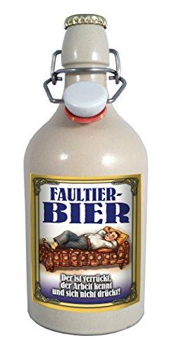 Faultier-Bier 0,5 Liter Tonflasche mit Bügelverschluss
