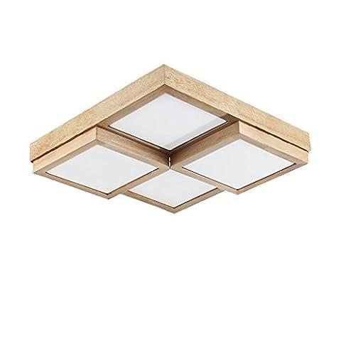 JIAHONG Europäische Massivholz Deckenleuchte geometrische moderne Schlafzimmer Wohnzimmer dekorative Beleuchtung Deckenleuchte 4 Kopf warmes Licht ( Color : White light )