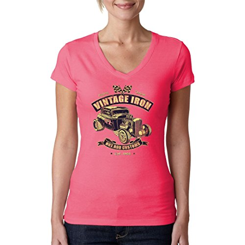Hot Rod Girlie V-Neck Shirt - Vintage Iron Hot Rod Customs by Im-Shirt Light-Pink