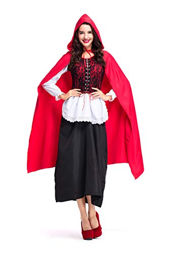(Women's Little Red Riding Hood Halloween Cosplay Fancy Jumpsuit Costume)