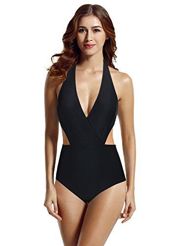 zeraca Damen Surplice High Waist Halfter Bademode Monokini Einteiliger Badeanzug (M Euro 40, Schwarz) (Süße Bh Für Teenager-mädchen)