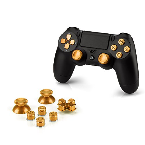 Preisvergleich Produktbild OKCS® Sony Playstation 4 Dualshock 4 Controller Aluminium Buttons Ersatzteile Thumbsticks Tasten Steuerkreuz PS4 in Gold