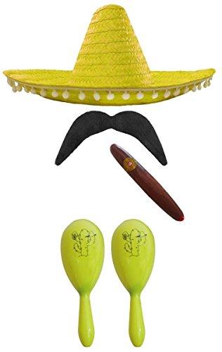 G = 2 MARACAS + 1 GELBER SOMBRERO MIT KLEINEN WEIßEN POMPOMS + 1 DICKE PLASTIK ZIGARREN+ 1 MEXIKANISCHE SELBSTKLEBENDE SCHNURRBÄRTE= VON ILOVEFANCYDRESS®===DIESES SET IST ERHALTBAR MIT 5 VERSCHIEDEN FARBENDEN MARACAS = MIT 2 GELBEN MARACAS (Cowgirl Pinata)
