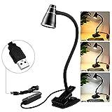 LED USB Klemmleuchte/Tischleuchte - 5W Leselampe mit 3 Modi, dimmbar mit 11 Helligkeitsstufen (schwarz)
