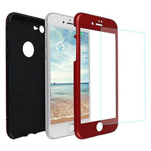 iPhone 7 Hülle, Asnlove 3 in 1 Ultra Dünn 360° Full-Cover Body Protector Back Cover Schutz Case Tasche mit 9H Panzerglas Displayschutz 3D-Touch Folie Vorne Anti-Kratz-Bildschirmschutz für Apple iPhone 7 4.7 Zoll - Rot