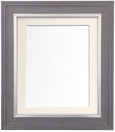 Scandi Slate Grau Foto Bild Poster Rahmen mit Passepartout in Weiß, Schwarz, Elfenbein oder Rosa, plastik, Elfenbeinfarben, 50 x 40 cm For Image size 40 x 30 cm