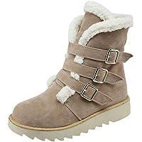 Fuibo Damen Stiefel, Frauen Suede Round Toe Schnalle Flache Schuhe Halten Warm Short Tube Snow Boots | Stiefeletten Ankle Boots Schlupfstiefel Chelsea Boots