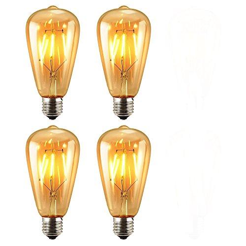 Paquete de 4 Unidades Iluminación Vintage, VSOAIR 4 Bombillas LED 6W con ST64 Vendimia Edison regulable Iluminación de Bulbo Blanco Caliente 2700K