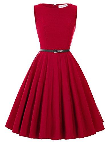 50s rockabilly damenkleider knielang charmant rot partykleider cocktailkleider swing dress Größe...