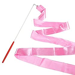 E-Goal 4M Gymnastik-Tanz-Band mit Anti-Rutsch-Lange-Stick aus Metall eingegossenes Kabel-Rosa