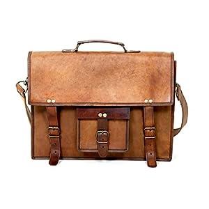 15 'Herren Leder Laptop Messenger Leder Messeng Vintage rustikale Umhängetasche