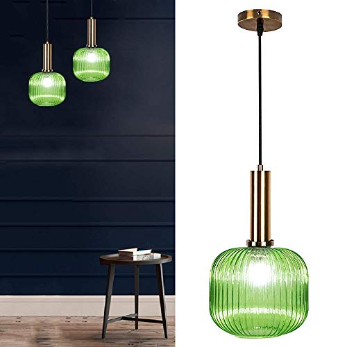 Glas Pendelleuchte, Nordic Post-Modern Kronleuchter Restaurant Kronleuchter Bett Glas Lampenschirm Retro Beleuchtung Einfache Bar Lampen (Green, 20CM)