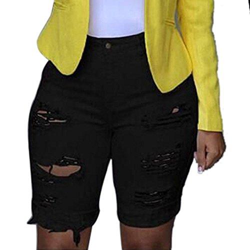 Damen Hohe Taille Groß Jesnsshorts, LeeMon Elastic Destroyed Leggings Kurze Hosen Jeansshorts Ripped Jeans Ladies Highwaist Denim Lace Up Shorts