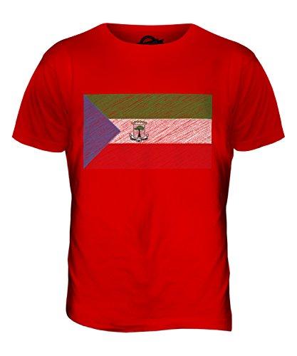CandyMix Guinea Equatoriale Bandiera Scarabocchio T-Shirt da Uomo Maglietta Rosso