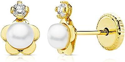 Pendientes bebe niña flor oro amarillo 18k 7 x 5 mm perlas rosca