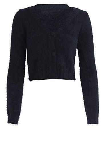 simplee donne / collo raccolto cardigan button davanti a jumper maglione sopra Nero