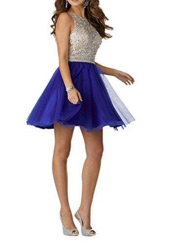 Charmant Damen Silber Pailletten Cocktailkleider Promkleider Abendkleider Kurzes Tanzenkleider aus Tuell Royal Blau