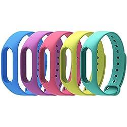 COOSA, Pack de 5 correas Recambio pBrazalete Extensibles coloridos impermeables para reemplazo Pulsera XIAOMI Mi band 2 Wireless (sin Rastreador de actividad) (púrpura+rosa +azul oscuro+verde +kaffir lima, para xiaomi pulsera inteligente 2)