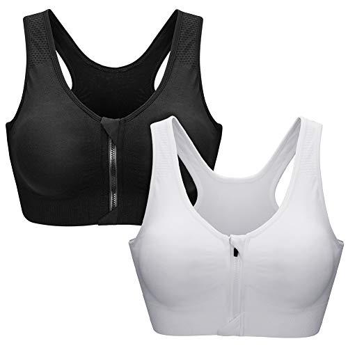 Zoerea Sports BH Damen Push Up Zip Front,2er/3er Pack Impact Yoga Bra Gepolstert für Radfahren,Joggen,Boxen (Schwarz und Weiß, L: Fit 80B 80C 85A 85B 85C)