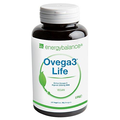 Ovega3 life DHA Vegan | Algenöl 200mg | Hohe Bioverfügbarkeit| Premiumqualität | Cholesterolfrei | Antioxidantien | Glutenfrei | Laktosefrei | Ohne Zusatzstoffe | GVO-frei | 180 VegeCaps -