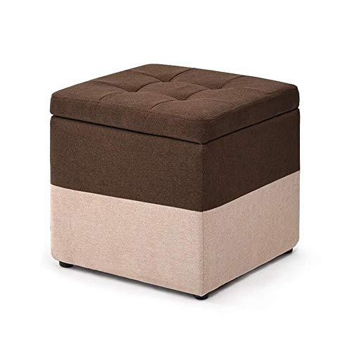YIDIAN Fuß Hocker Aufbewahrungsbox Cube Pouffe Sofa Hocker Square Ottomane, Abnehmbarer Leinenbezug Sitz gepolsterte Fußstütze für Wohnzimmer -