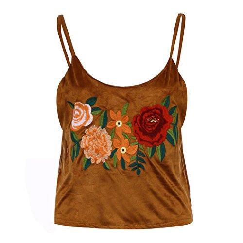 WOCACHI Damen Sommer Tops Frauen reizvolle Rose Stickerei Leibchen Camisole Weste Bluse Tank Tops Schwarz (S/32, Braun)