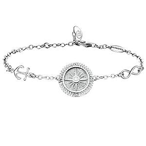 BlingGem Damen Armband aus Weißgold vergoldet 925 Sterling Silver Silber Kompass Armkette