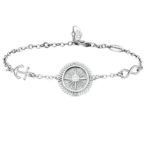 BlingGem Damen Armband aus Weißgold vergoldet 925 Sterling Silber Bettelarmband Kompass Frauen Kette Einstellbar