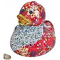 Preisvergleich für Spardose - Urlaubskasse - Spardose - Sparbüchse - Spardose - Ente mit Halstuch Blumen B 16 x T 13 x H 16 cm (rot)