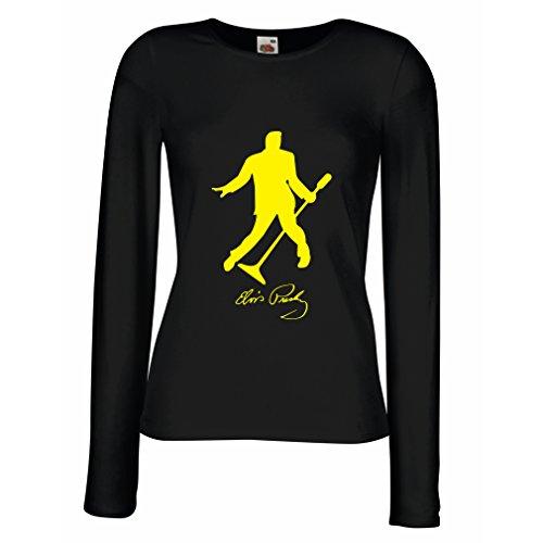 lepni.me Weibliche Langen Ärmeln T-Shirt Ich Liebe Dich Elvis - King of Rock'n'Roll 50er, 60er, 70er, Partykleidung (X-Large Schwarz Gelb)
