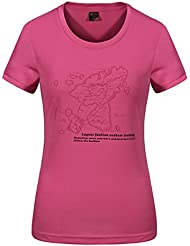 emansmoer Femme Col rond Manches courtes T-Shirt Casual Pêche Fitness Respirant Outdoor Sport Quick Dry Wicking Tee