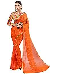 Krishna Adv Women's Chiffon Saree with Blouse Piece (Orange & Gold)