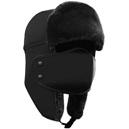 AKASO AKASO Unisex Wintermütze, Kunstfellmütze, Fliegermütze mit Ohrenklappen und Abnehmbarer Gesichtsmaske, für Skifahren, Schlittschuhlaufen und andere Outdoor-Aktivitäten