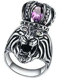 Stainless Steel King Lion W. Crystal Eye and Purple Crown Mens Biker Ring